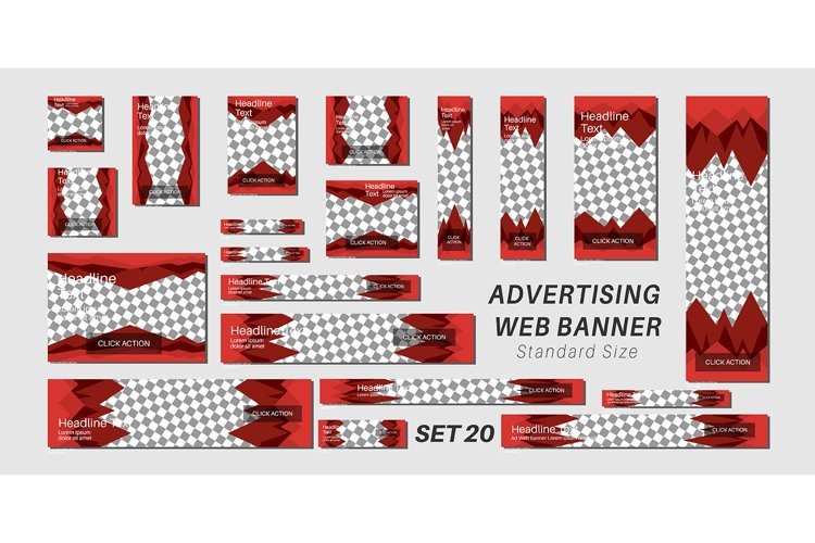 Vector set advertising web banner template design. triangle example image 1