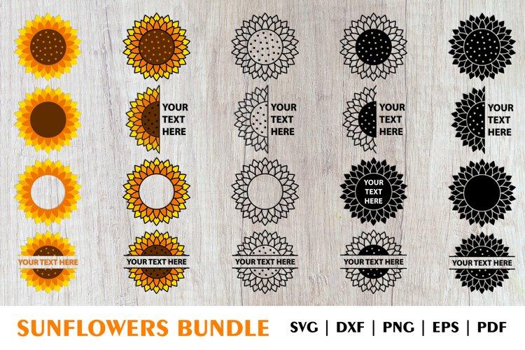 Sunflower SVG, Sunflower PNG, Sunflower Monogram SVG Bundle example image 1