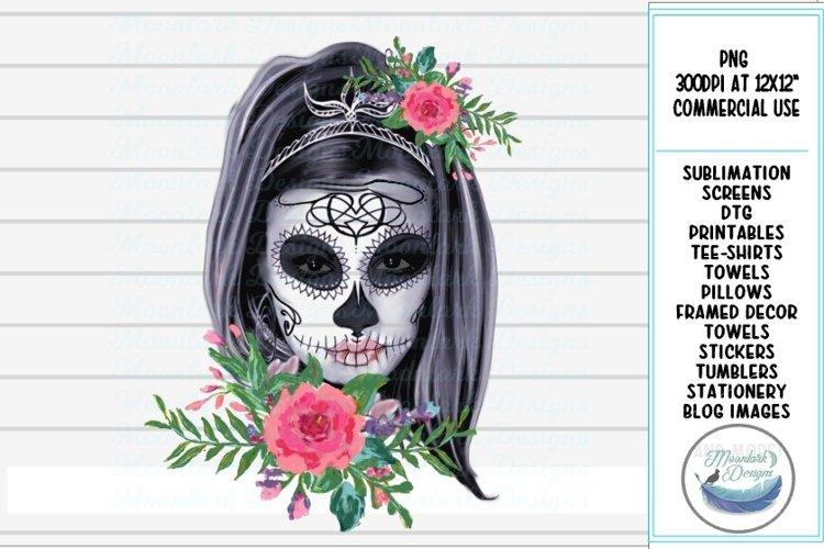floral sugar skull skeleton halloween rose PNG sublimation