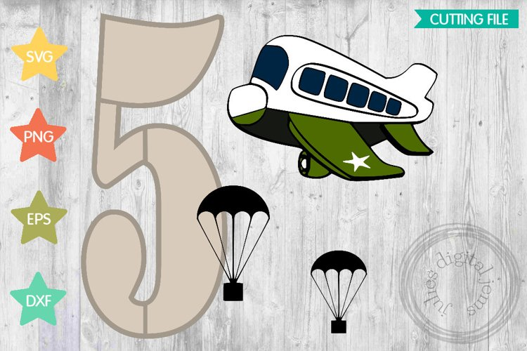 Airforce 5th birthday, Airplane svg by Julies Homemade Jems example image 1