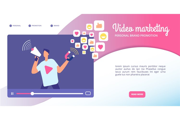 Video marketing concept. Online advertising, streaming vlog example image 1