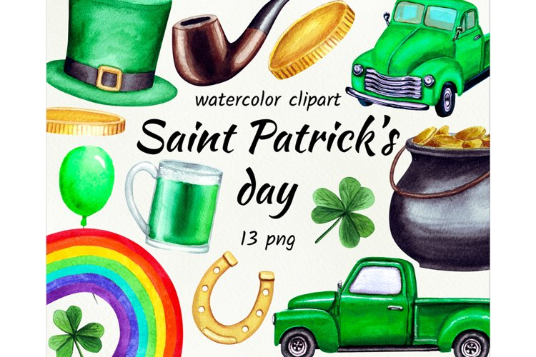 Watercolor St. Patricks day clipart.