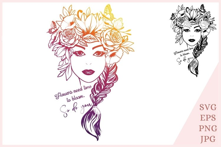 Flower woman SVG, Floral girl svg example image 1