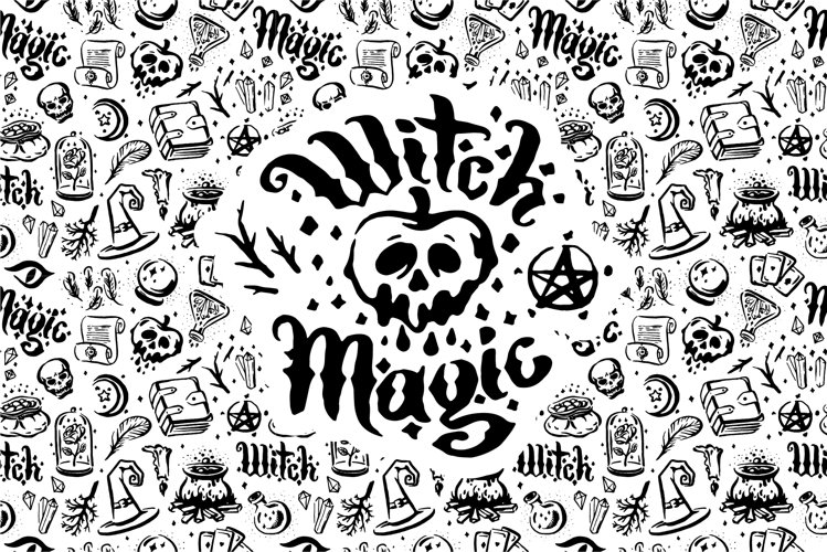 Witch and magic illustration set.