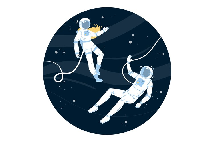 Astronauts In Spacesuit Flying Outer Space Vector