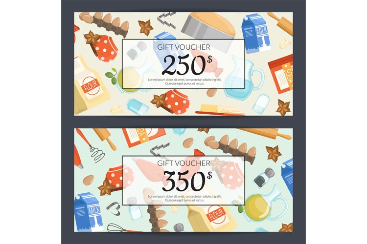 Vector cooking groceries discount or gift card example image 1