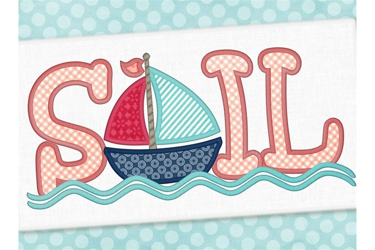 Sailboat Applique Embroidery Design 1275 example image 1