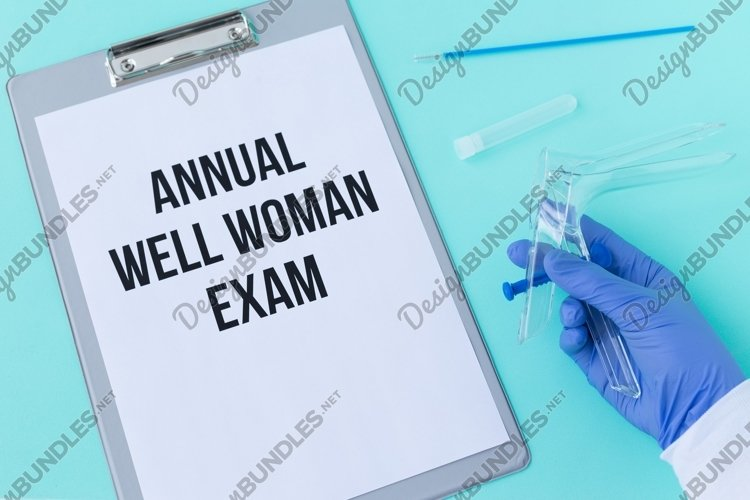 Annual well woman exam. Speculum Cusco, blue background example image 1
