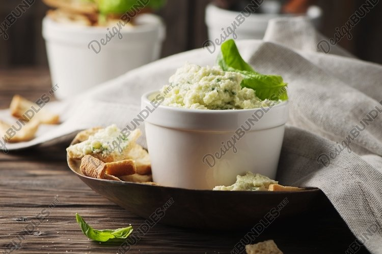 Cheese cream with parmesan and basil, selective focus example image 1