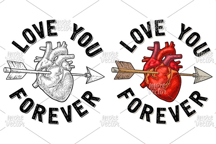 Arrow pierced the heart Love you forever lettering engraving example image 1