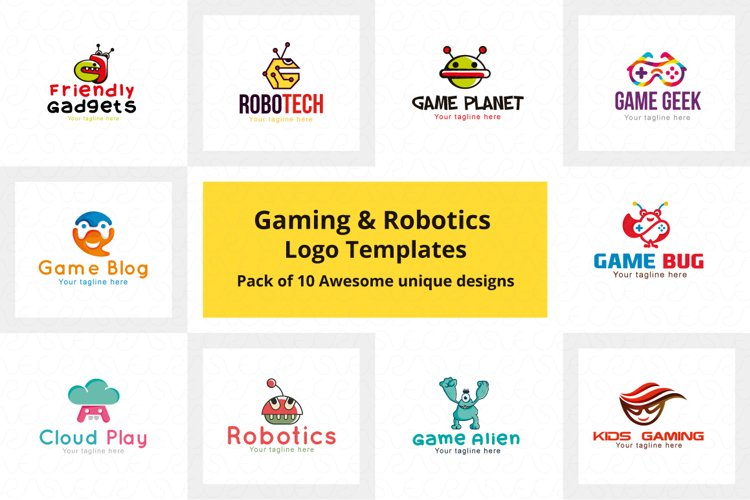 Gaming & Robotics Logo Templates Pack of 10 awesome Designs example image 1