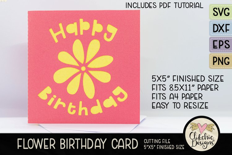 Happy Birthday Card SVG - Flower Birthday Card Cutting File