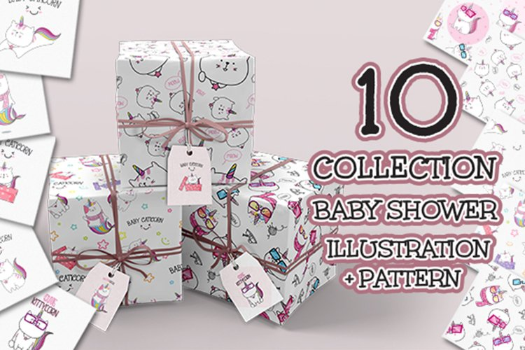 Set cute Illustration caticorn for Baby Shower example image 1