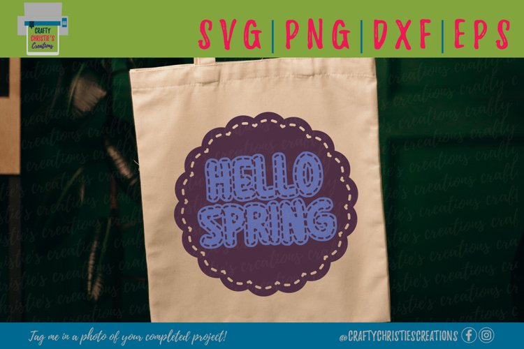 Hello Spring SVG - Spring SVG - Faux Stitching SVG
