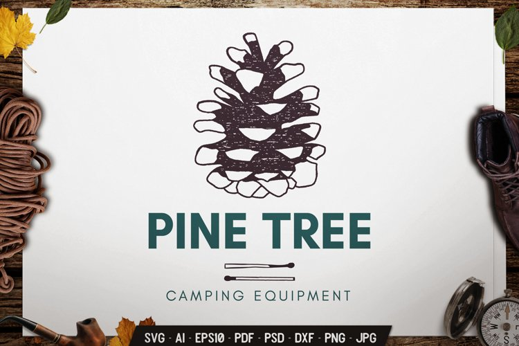 Pine Tree SVG Logo Badge Vector Travel Retro Graphic dxf png example image 1