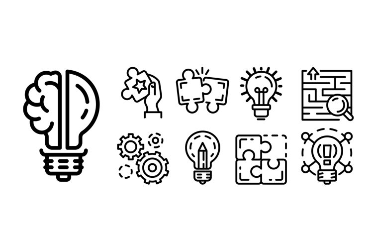 Solution icon set, outline style example image 1