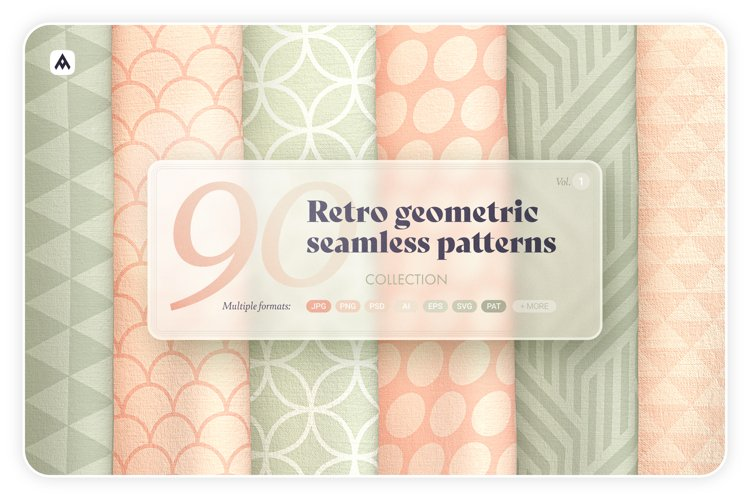 Retro geometric seamless patterns collection example image 1
