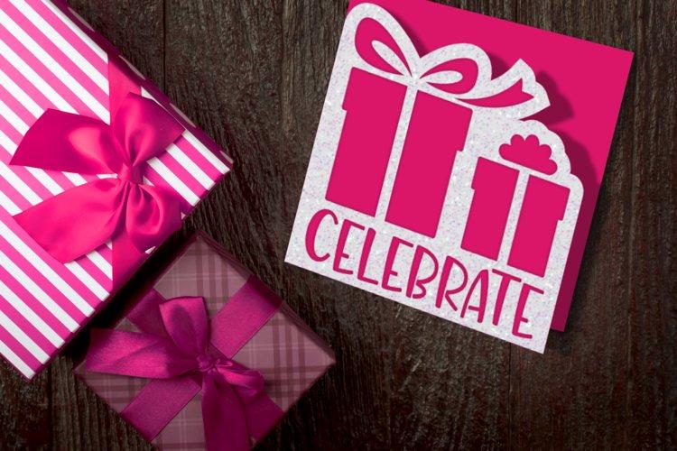 Celebrate Gift Box Papercut Card SVG