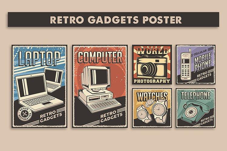 Retro Gadgets Poster Signage set example image 1