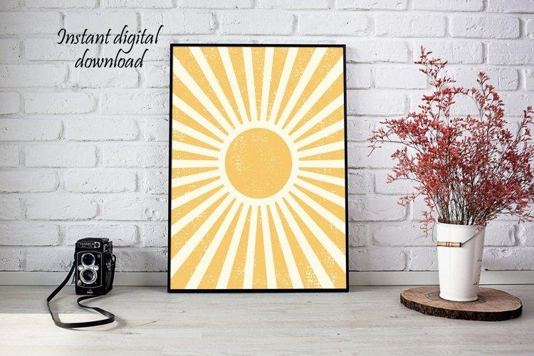 Boho Sun Print Wall Art , Printable Wall Art, Printable Art example image 1