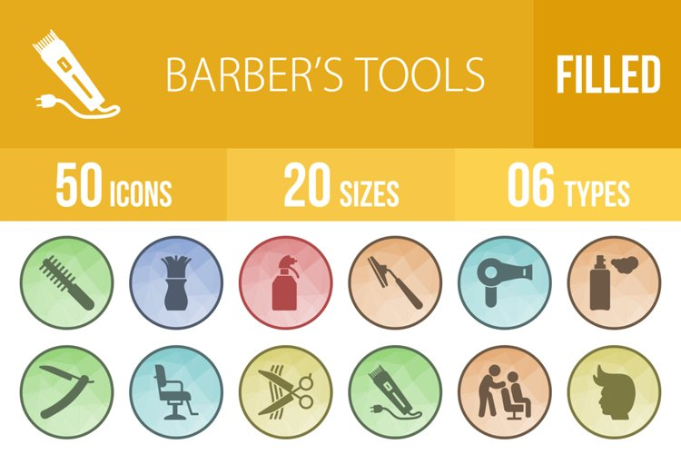 50 Barbers Tools Filled Low Poly Icons example image 1