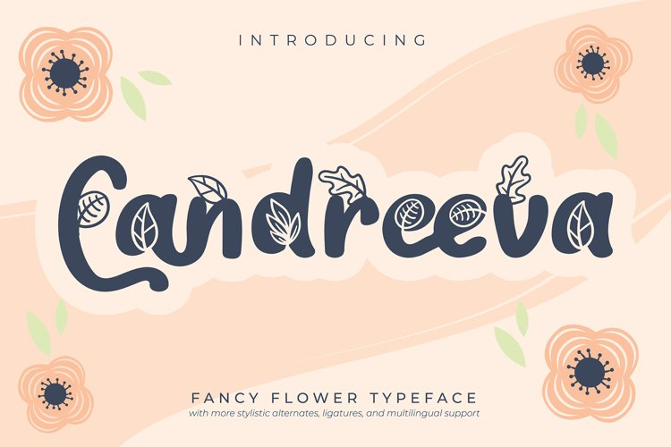 Candreeva | Fancy Flower Typeface Font example image 1