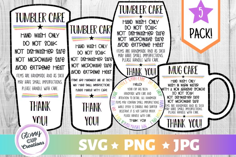 Tumbler Care Card Pack, PNG, Print and Cut, Blue Butterfles