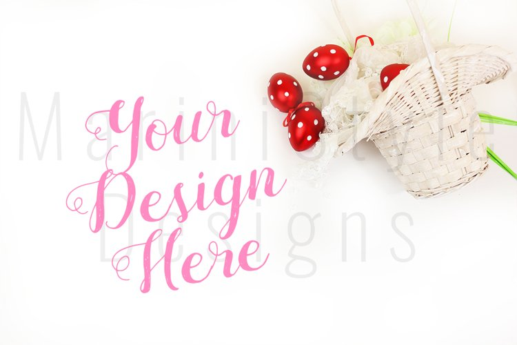 Spring Easter Mockup, White Background with Easter eggs 459