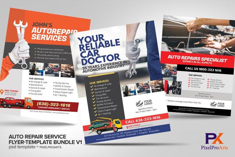 Auto Repair Service Flyer Template Bundle V1