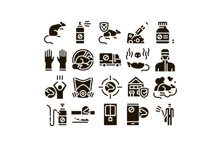 Rat Protect Collection Elements Icons Set Vector example image 1