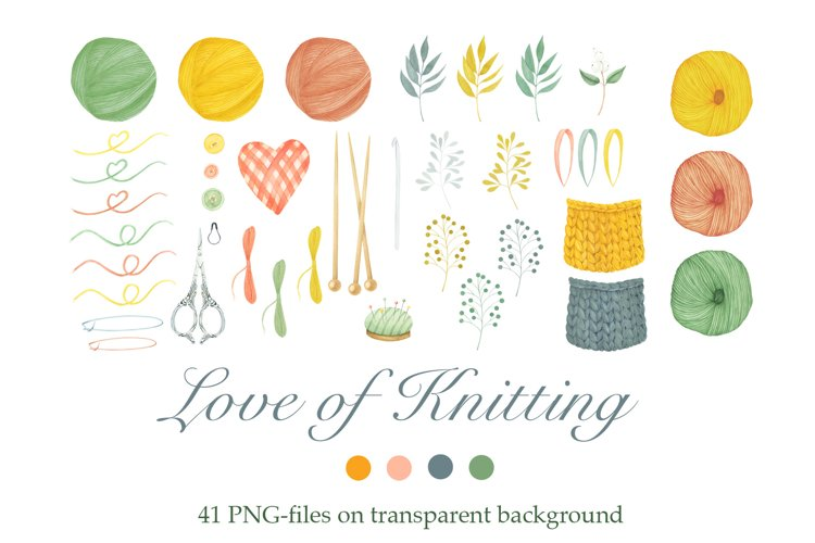 Watercolor Knitting Clipart example image 1