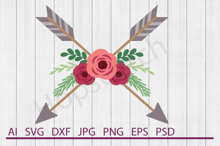 Flowers With Arrows SVG, DXF File, Cuttable File example image 1