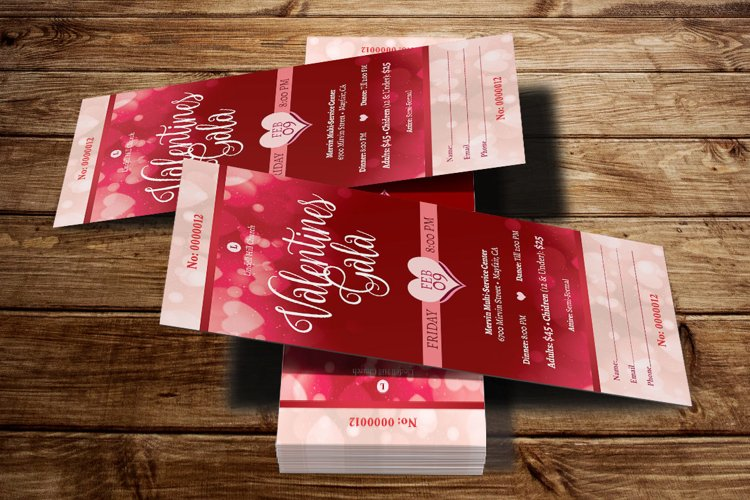 Red Hearts Valentines Gala Ticket Template example image 1