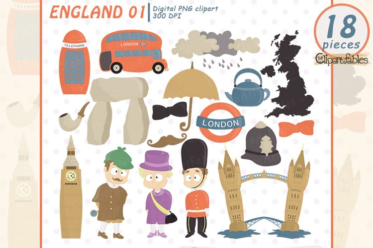 Cute LONDON clipart, England clip art - Travel design example image 1