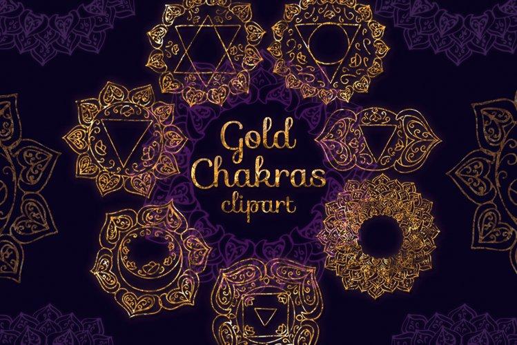 7 Chakras clip art Gold chakras clipart Yoga Meditation