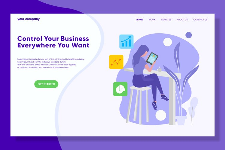Control Your Business Landing Page Flat Illustration Vector example image 1
