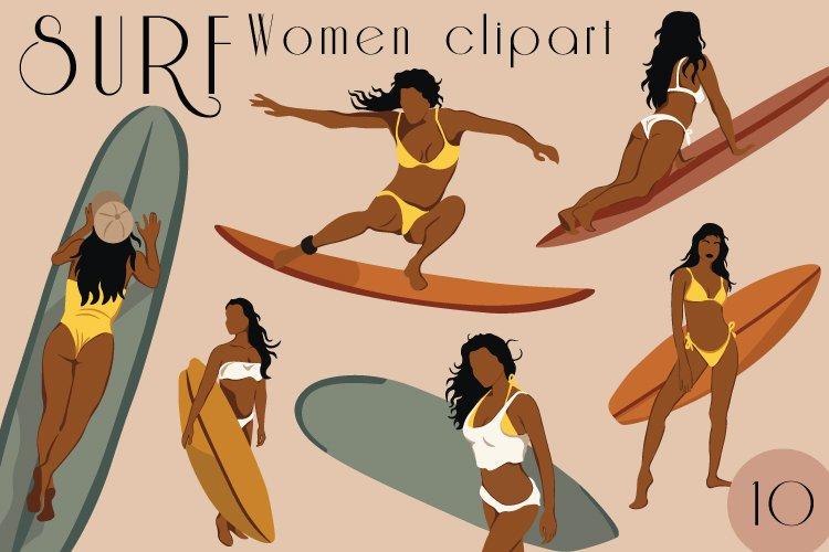 Surf Woman Clipart, Abstract Bikini Woman svg,