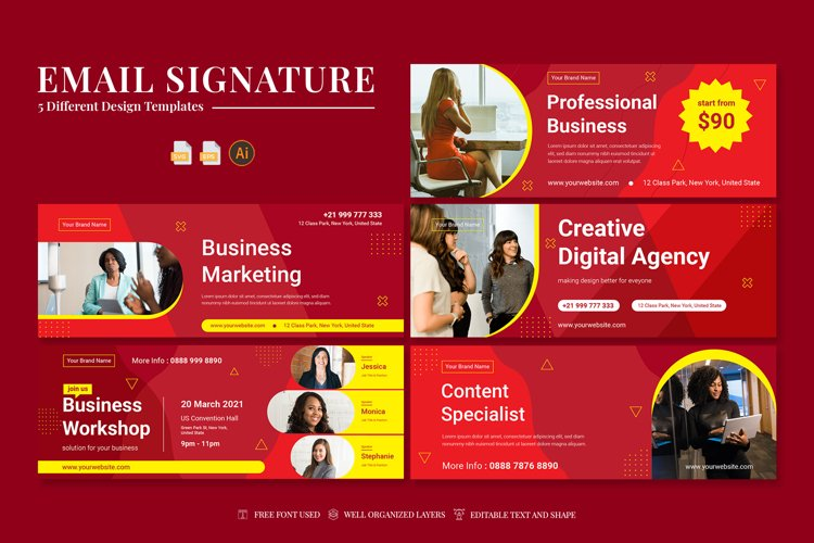 Email Signature Pack Template Bundle