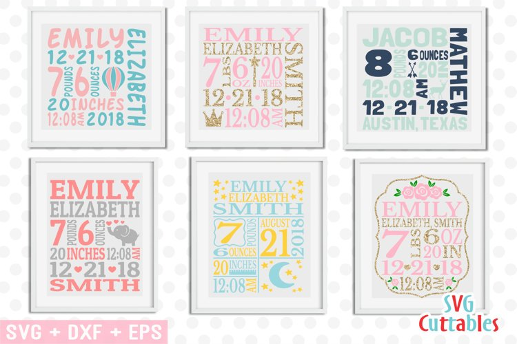 Baby Birth Announcement Template Bundle example image 1