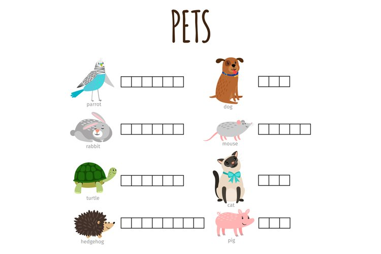 Word game for kids how named animal vector illustration with