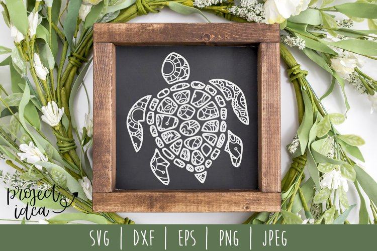 Turtle Mandala Zentangle SVG, DXF, EPS, PNG, JPEG