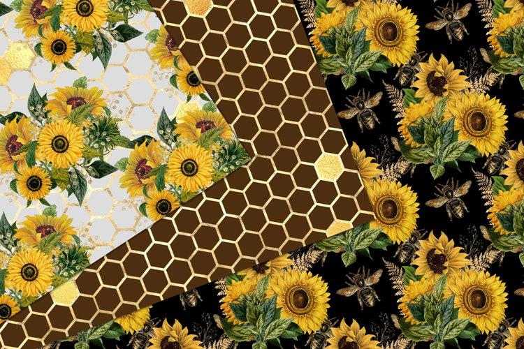 Sunflower Bees Digital Paper - Free Design of The Week Design2