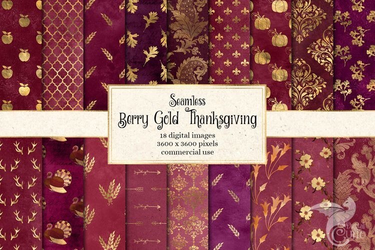 Berry Gold Thanksgiving Digital Paper example image 1