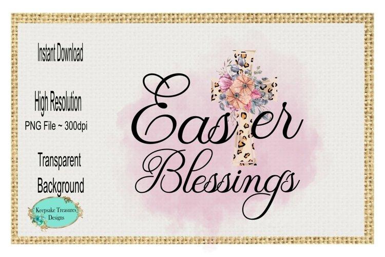 Easter Blessings, Leopard Cross, Sublimation Design