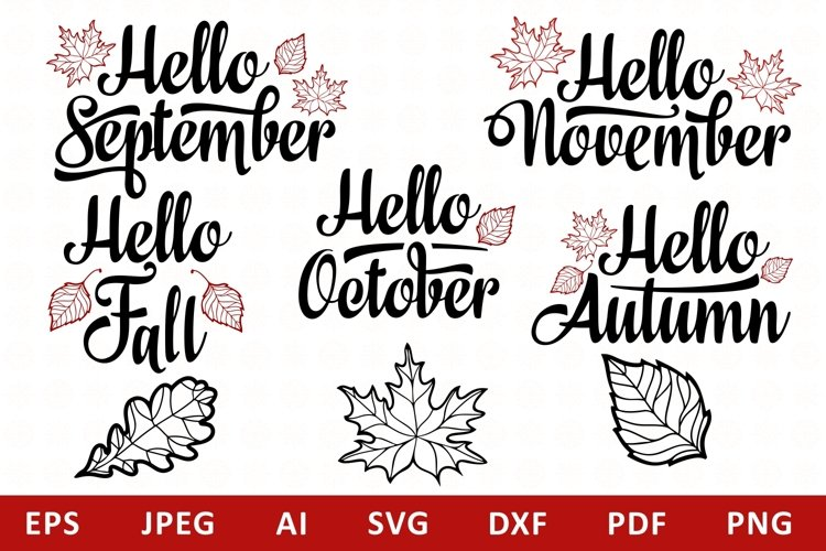 Hello Fall Lettering Mini Bundle Graphic svg example image 1
