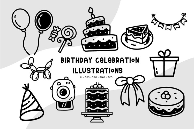 Birthday Celebration illustrations example image 1