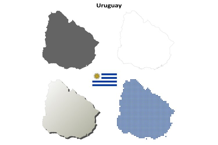 Uruguay outline map set example image 1
