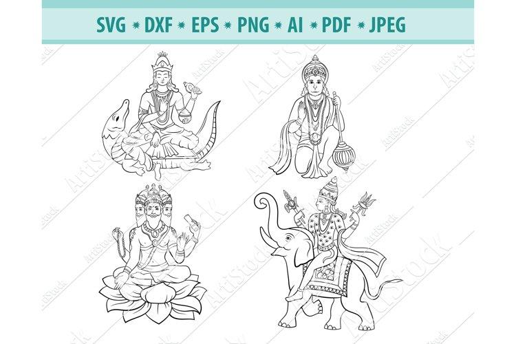 Hindu gods Svg, Hinduism Svg, Indian God Svg, Png, Eps, Dxf example image 1