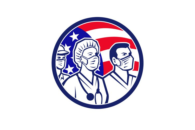 American Healthcare Worker Heroes USA Flag Icon example image 1