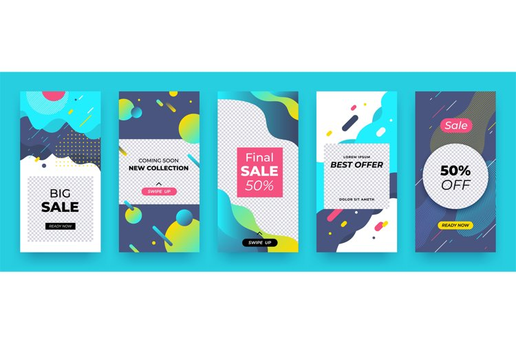 Social media banner. Story sale coupon layout, abstract prom example image 1